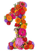 Number 1 made from flowers — Stock Photo