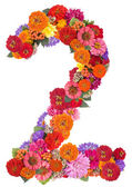 Number 2 made from flowers — Stock Photo