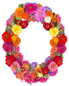 Number 0 made from flowers — Stock Photo