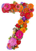 Number 7 made from flowers — Stock Photo