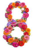 Number 8 made from flowers — Stock Photo
