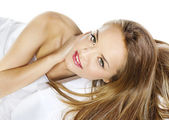 Sensual woman model with straight long blond hair over white — Stock Photo