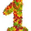 Number 1 made from autumn leaves, isolated on white — Stock Photo