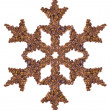 Stock Photo: Snowflake made of coffee beans
