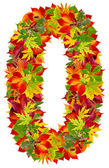 Number 0 made from autumn leaves, isolated on white — Stock Photo