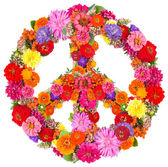 Sign peace from flowers — Stock Photo