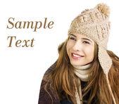 Pretty teen on a white background — Stock Photo