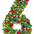 Number 6. Christmas tree decoration — Stock Photo