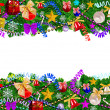 Christmas background with baubles and christmas tree. — Stock Photo #14622453