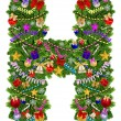 Letter H. Christmas tree decoration — Stock Photo