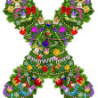 Letter X. Christmas tree decoration — Foto de Stock