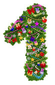 Number 1. Christmas tree decoration — Stock Photo