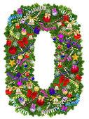 číslo 0. vánoční strom dekorace — Stock fotografie