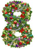 Número 8. árbol de navidad decoración — Foto de Stock