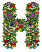 Decoración de árbol de navidad carta h — Foto de Stock
