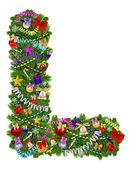 Letter L. Christmas tree decoration — Stock Photo