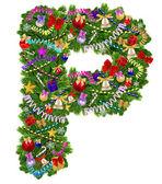 Letter P. Christmas tree decoration — Stock Photo
