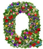 Dopis q. vánoční strom dekorace — Stock fotografie