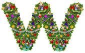 Letter W. Christmas tree decoration — Stock Photo