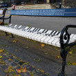 Bench near liszt ferenc memorial museum — Stock Photo