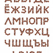 Stock Photo: Cyrillic Alphabet made from coffee beans.