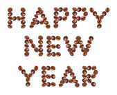 Happy New Year , made of beans coffee — Stock Photo