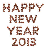 New Year 2013 made of beans coffee — Stock Photo