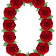 Number 0 made from  red roses and green leaves — Stock Photo