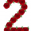 Number 2 made from red roses and green leaves — Stock Photo