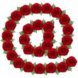 E-mail symbol made from red roses — Stock Photo