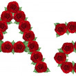 Alphabet made from red roses and green leaves — Stock Photo #19772829
