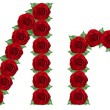 Alphabet made from red roses and green leaves — Stock Photo #19773701