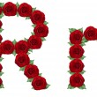 Alphabet made from red roses and green leaves — Stock Photo #19774057