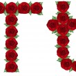 Alphabet made from red roses and green leaves — Stock Photo #19774139