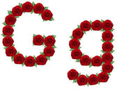 Alfabet gemaakt van rode rozen en groene bladeren — Stockfoto