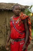 Maasai in traditional clothes — Stock Photo