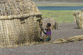 El molo woman makes traditional hut near lake Turkana, Kenya. — Stock Photo