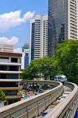 Train arrives at a train station. Kuala Lumpur — Stock Photo