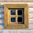 Old window on the wooden wall — Stock Photo