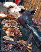 Pig roast on the market — Stock Photo