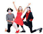 Funny portrait of mimes — Stock Photo