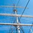 Mast yacht without sails against the blue sky — Stock Photo #28946399