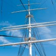 Mast yacht without sails against the blue sky — Stock Photo #28946523