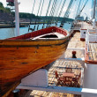 Old wooden lifeboat on the ship — Stok fotoğraf