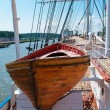 Old wooden lifeboat on the ship — Stock Photo