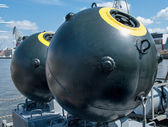 Naval mine as part of the equipment ship — Stock Photo