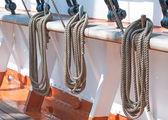 Ropes on a sailboat — Stock Photo