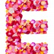 Letter E  made from colorful petals rose — Stock Photo