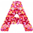 Letter A made from colorful petals rose — Stockfoto