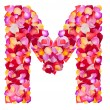 Letter M made from colorful petals rose — Stock Photo #29392809